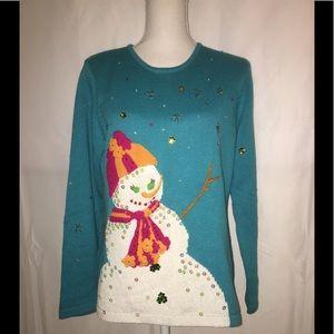 Ugly Xmas SUSAN BRISTOL Sz L Turquoise Sweater